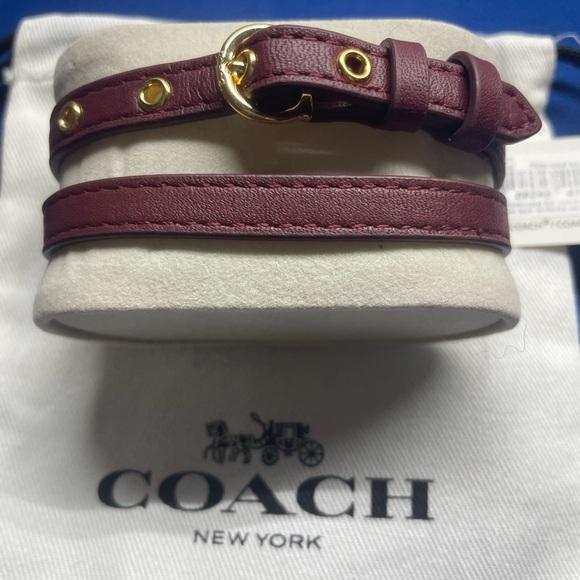Coach C-Buckle Double Wrap Leather Bracelet